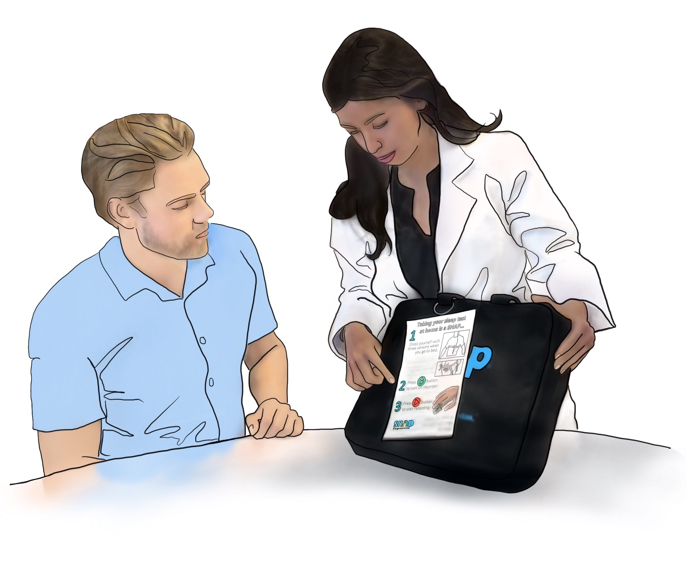 A drawing of a medical provider instructing a patient on how to use a Snap Diagnostics home sleep study to test for sleep apnea