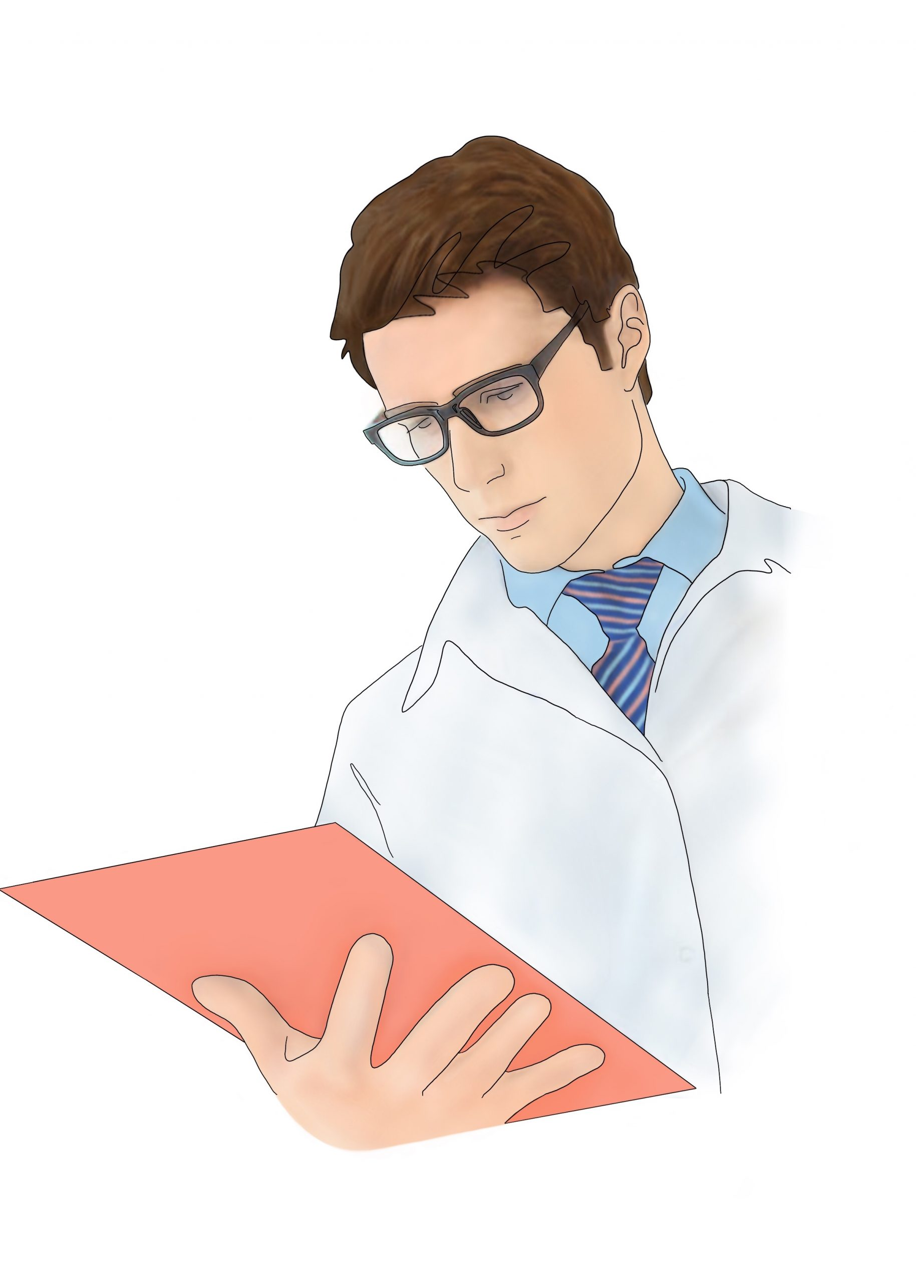 A drawing of a medical provider reviewing diagnostic sleep test results