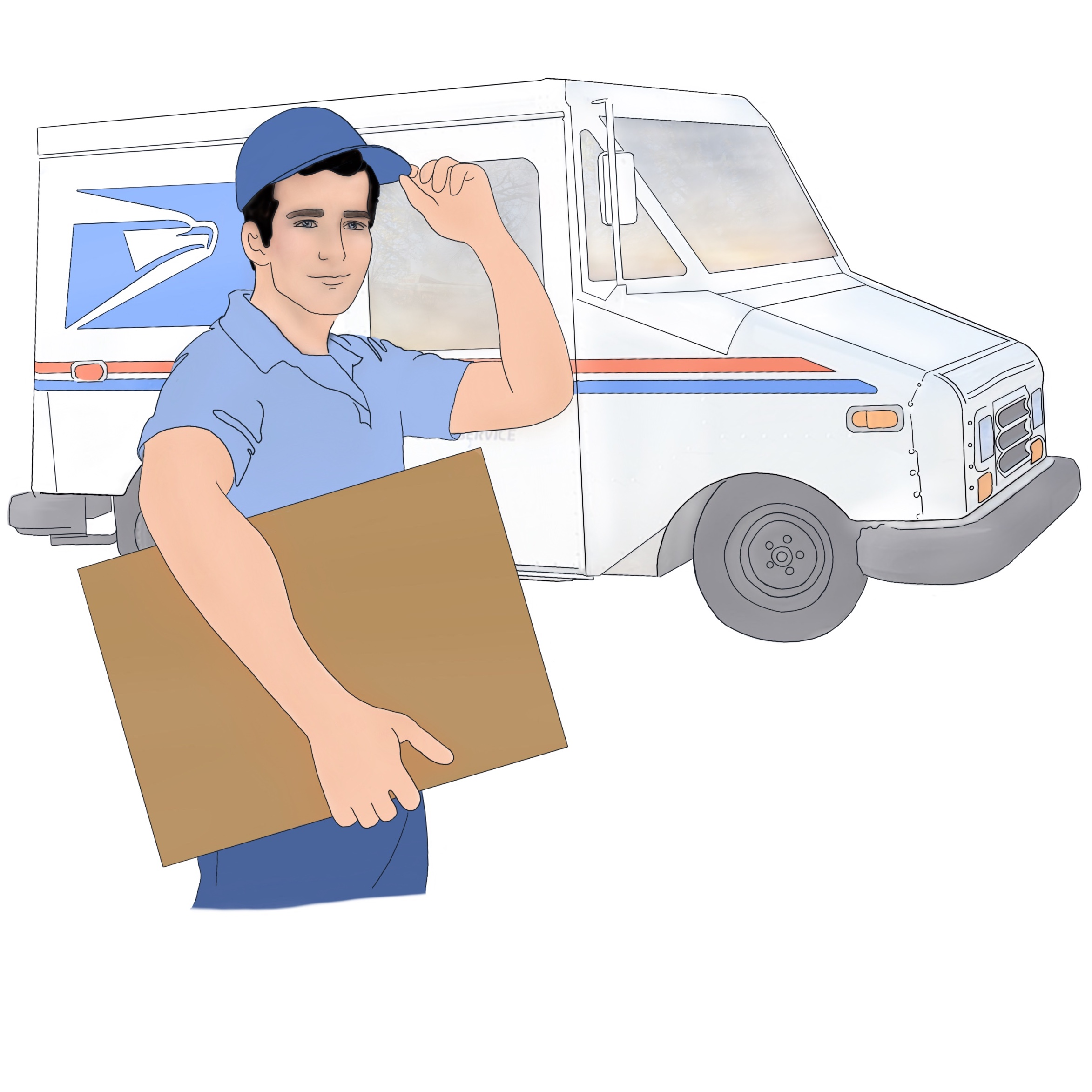 A drawing of a Snap Diagnostics home sleep apnea test being delivered by mail