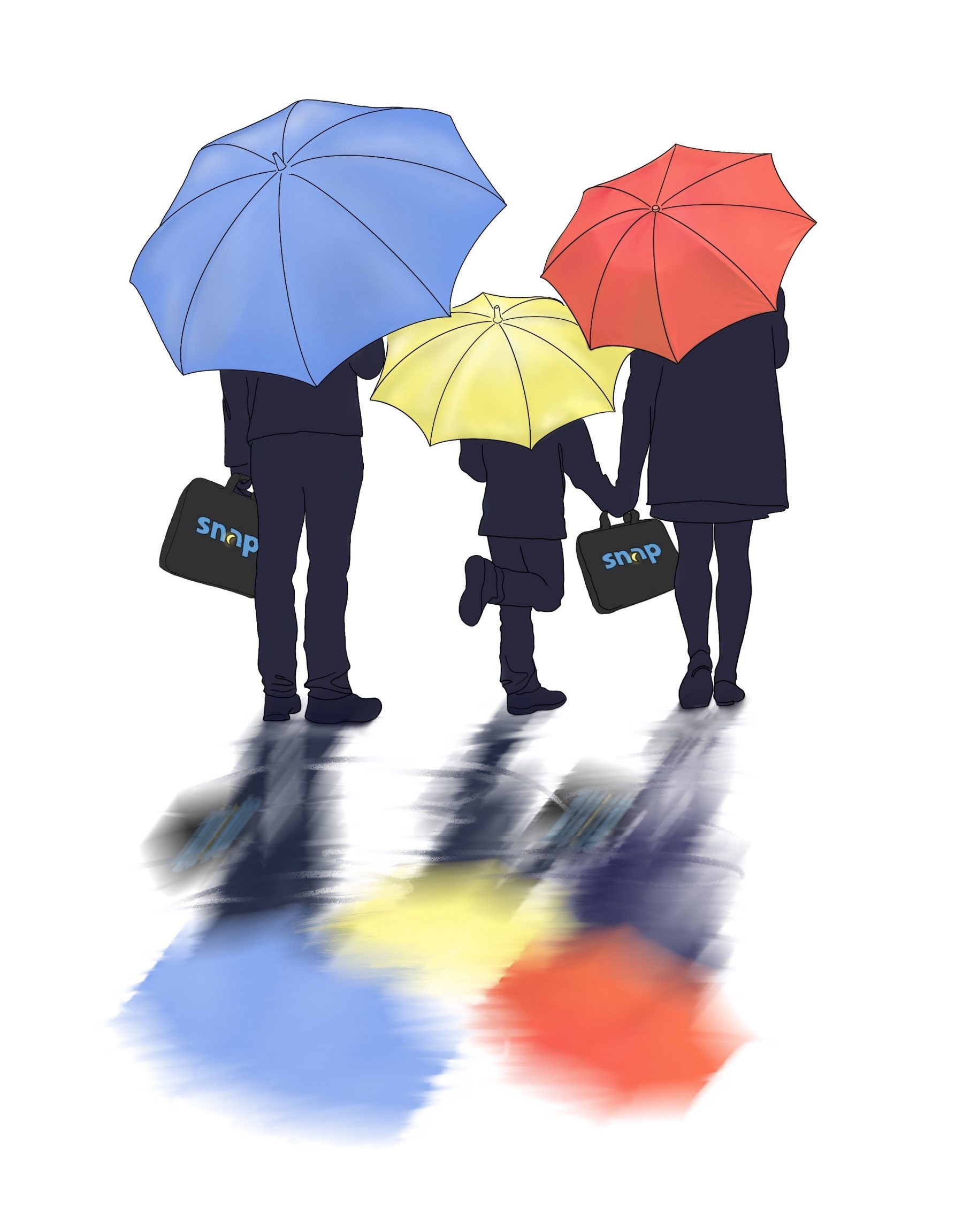 A drawing of three people holding Snap Diagnostics home sleep apnea test kits covered under colorful umbrellas symbolizing insurance coverage.