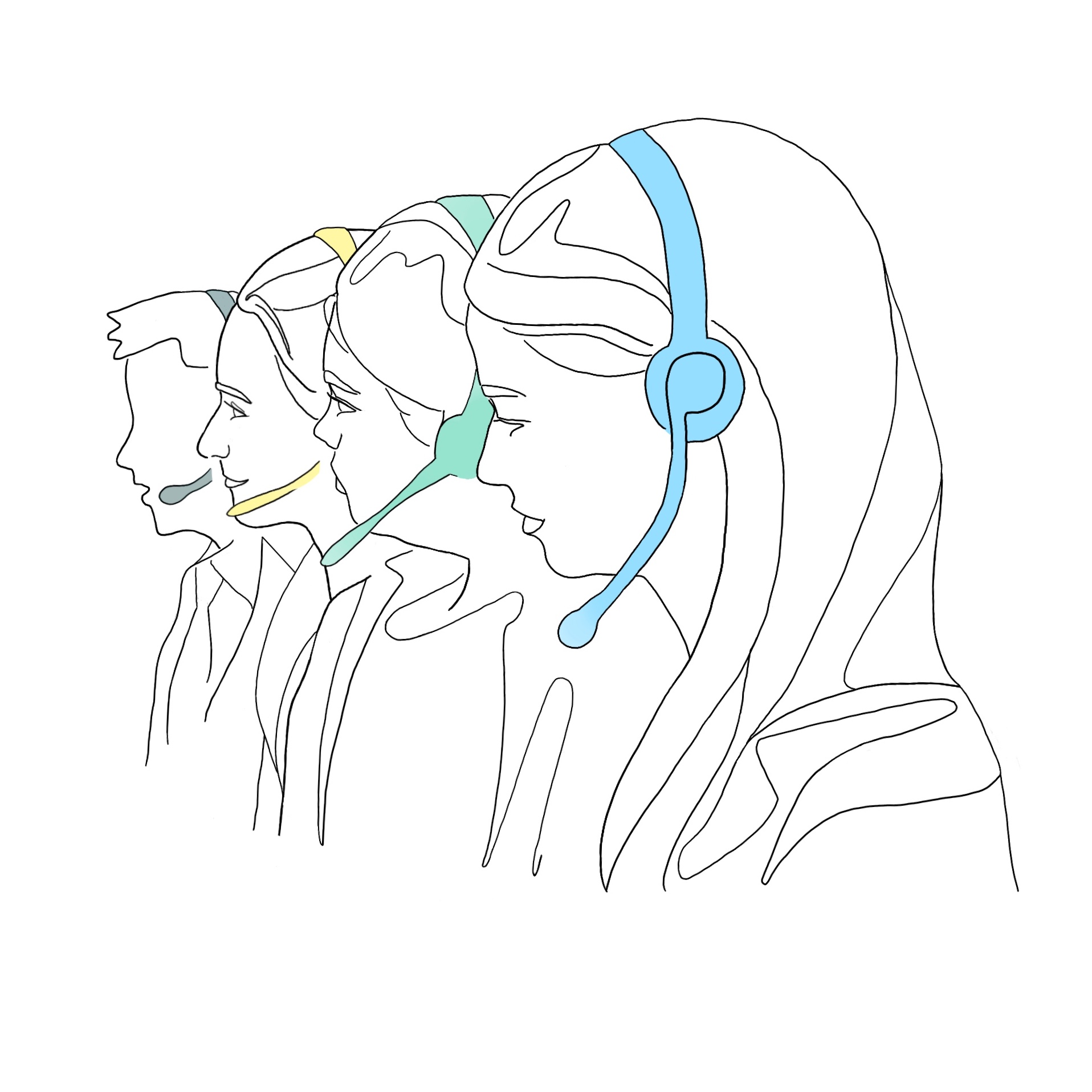 A drawing of four members of Snap Diagnostics' Customer Support Team