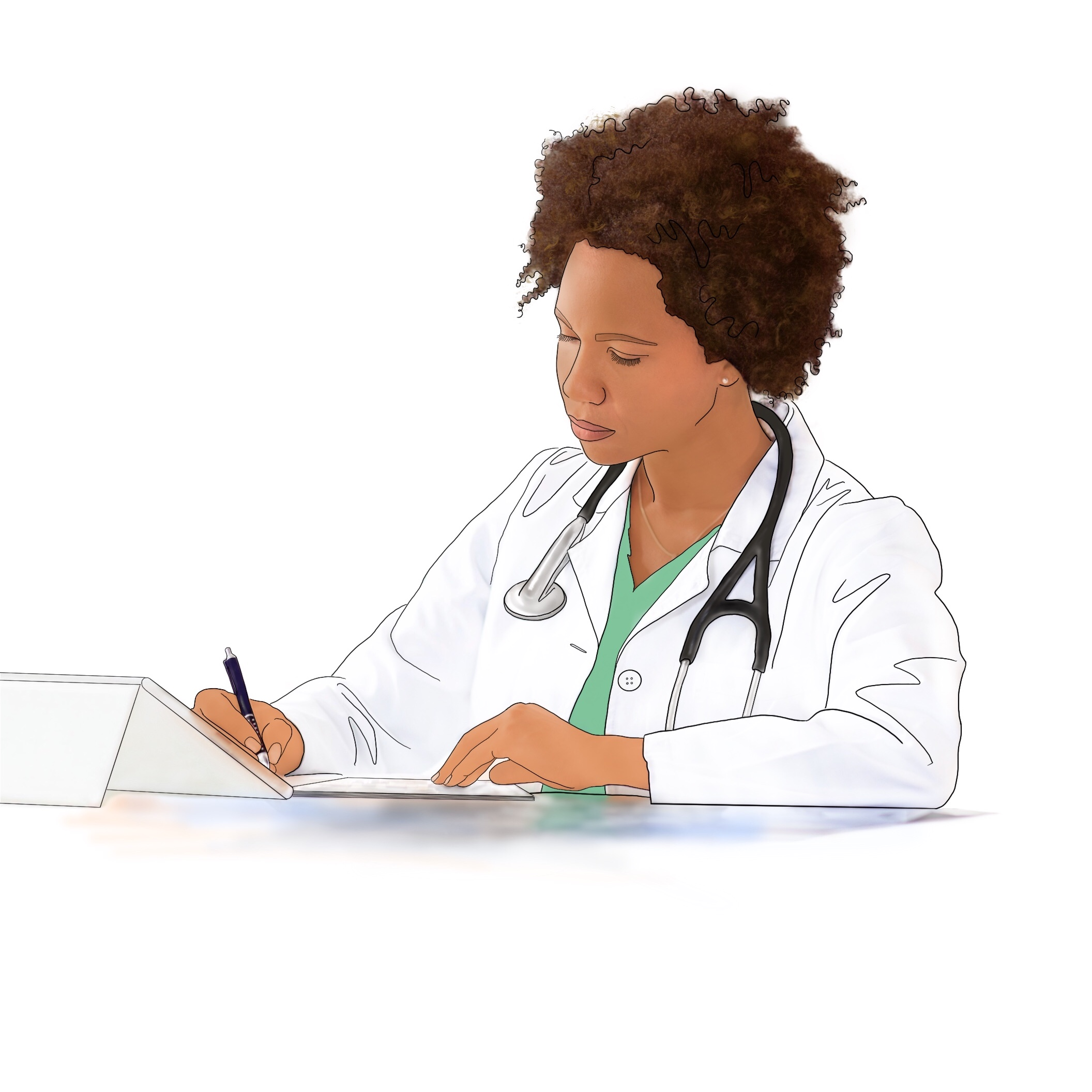 A drawing of a medical provider writing an order for treatment for sleep apnea