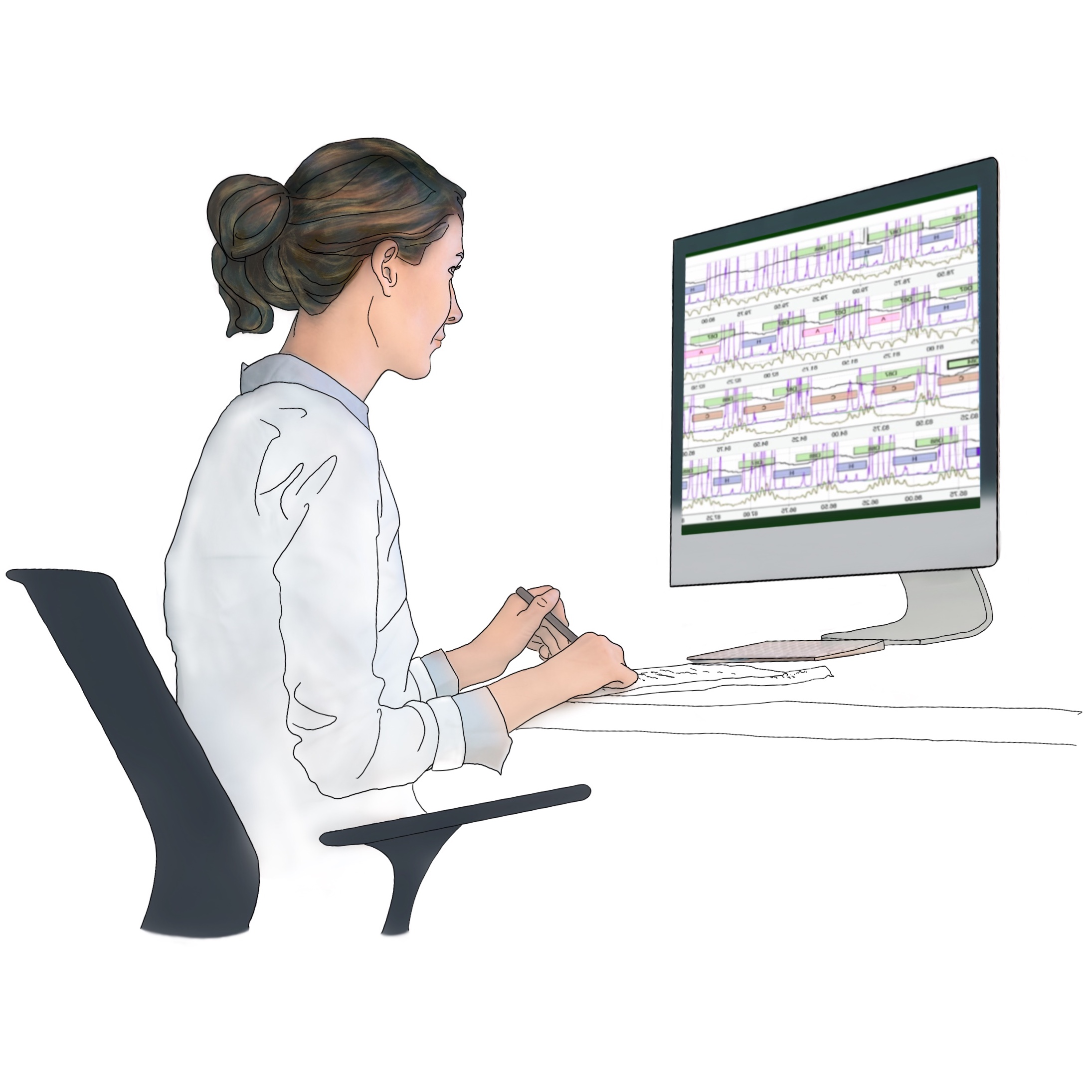 A drawing of a technician (RPSGT) at Snap Diagnostics analyzing sleep data from a home sleep apnea test